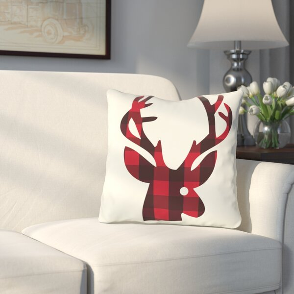 Quail Run Plaid Reindeer Reversible Throw Pillow by Three Posts