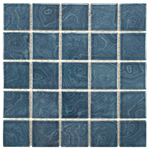 Utopia 2 x 2 Porcelain Mosaic Tile in Glazed Resort Blue by EliteTile