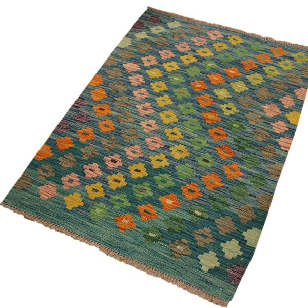 One-of-a-Kind Aalborg Hand-Woven Blue Area Rug by Isabelline