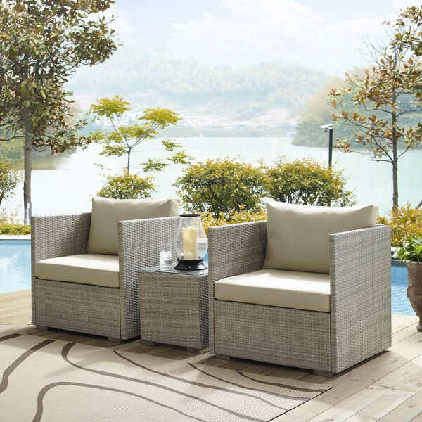 Heinrich 3 Piece Sunbrella® Conversation Set with Cushions by Highland Dunes