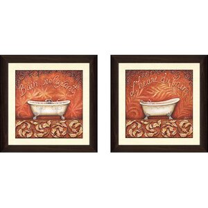 'Heure du Bain' 2 Piece Framed Graphic Art Print Set by Fleur De Lis Living