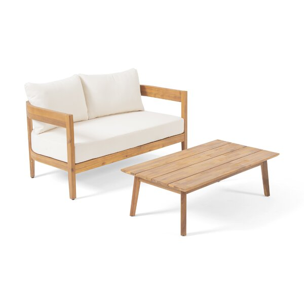 Vita Outdoor 2 Piece Seating Group with Cushions by George Oliver
