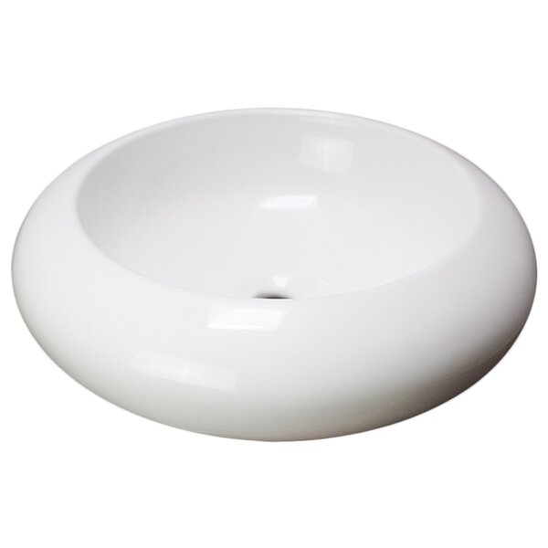 19.3 W Above Counter White Vessel For Wall Mount Drilling