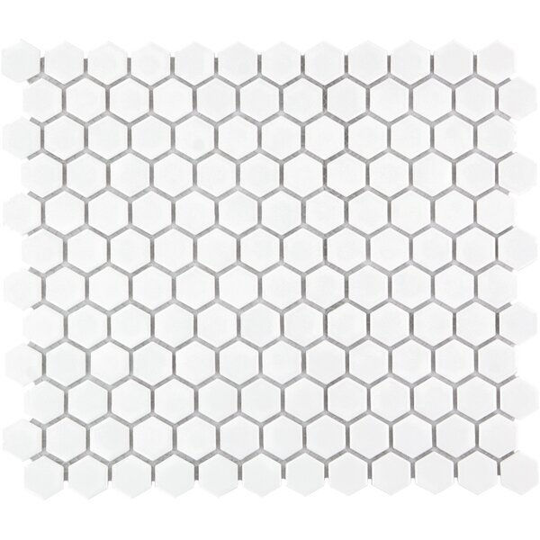 Barcelona 1 x 1 Porcelain Mosaic Tile in Matte White by The Mosaic Factory