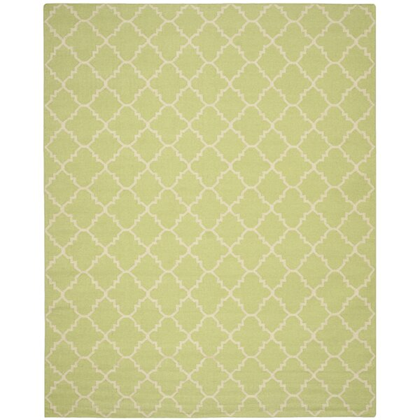 Hand-Woven Light Green/Ivory Area Rug by Birch Lane Kids™