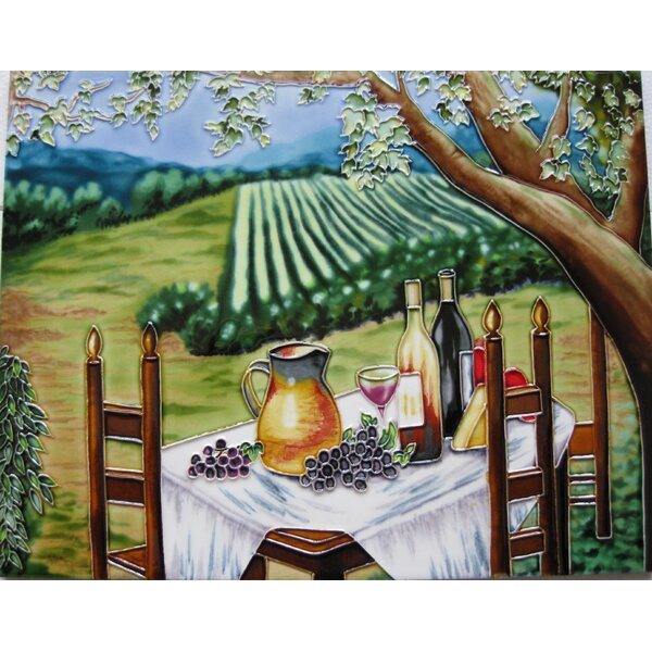 Vineyard with Table and Chair Tile Wall Decor by Continental Art Center