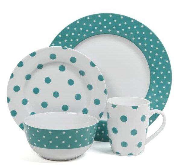 Isaac Mizrahi 16 Piece Dinnerware Set, Service for 4 by ABC Home Collection