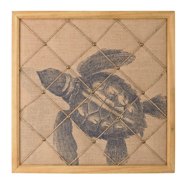 Turtle on Linen Note Board Graphic Art by Bay Isle Home