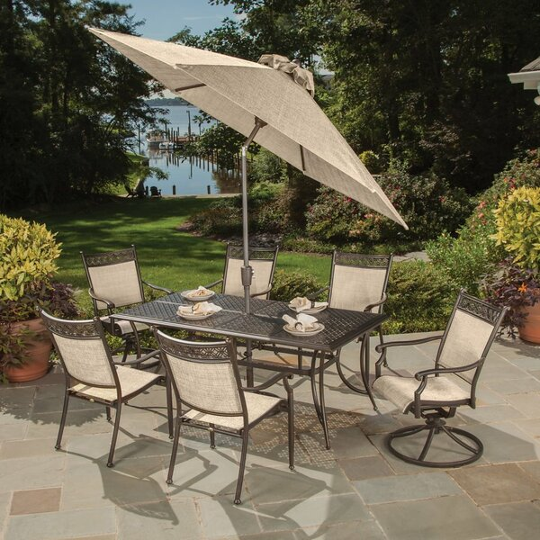 Doucette Cast Aluminum and Sling 9 Piece Dining Set by Red Barrel Studio