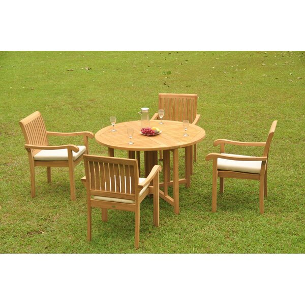 Perego Luxurious 5 Piece Teak Dining Set by Rosecliff Heights