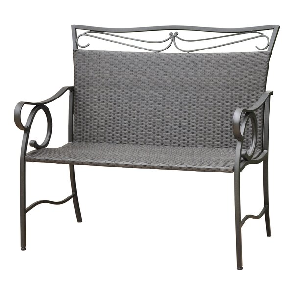 Stapleton Iron Wicker Resin Garden Bench by Charlton Home