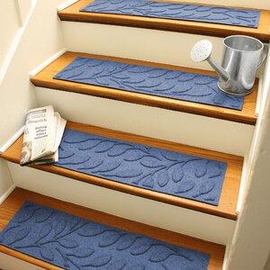 Aqua Shield Navy Brittany Leaf Stair Tread (Set of 4)