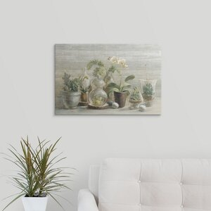 Greenhouse Orchids on Wood by Danhui Nai Graphic Art on Wrapped Canvas by Great Big Canvas