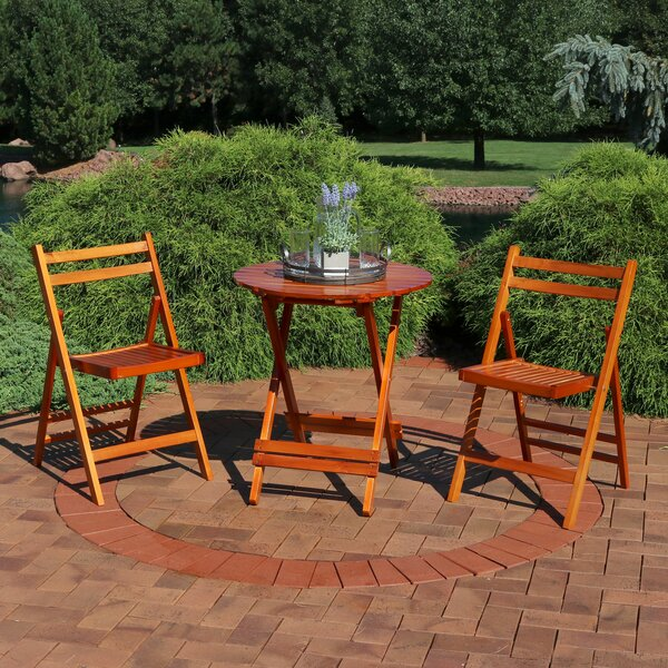 Ainsley Folding Wood Patio 3 Piece Bistro Set by Millwood Pines