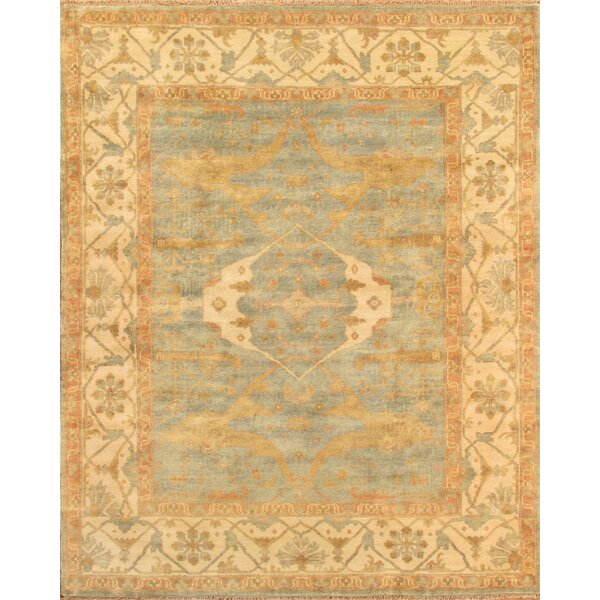 Oushak Hand-Knotted Wool Light Blue Area Rug by Pasargad