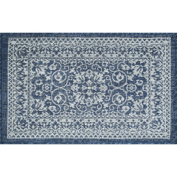 Hayle Transitional Floral Navy Indoor/Outdoor Area Rug by Alcott Hill