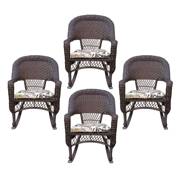 Belwood Resin Wicker Rocking Chair with Floral Cushions (Set of 4) by Bay Isle Home