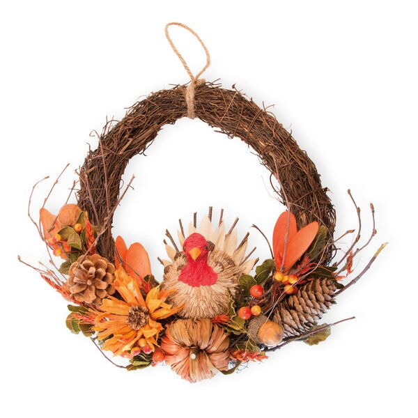 Berry and Pumpkin Ted Turkey 12 Wreath by The Holiday Aisle