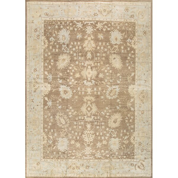 Oushak Hand-Knotted Brown Area Rug by Pasargad