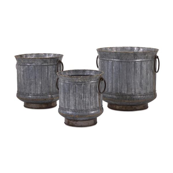 Griffin 3-Piece Iron Galvanized Pot Planter Set by Woodland Imports