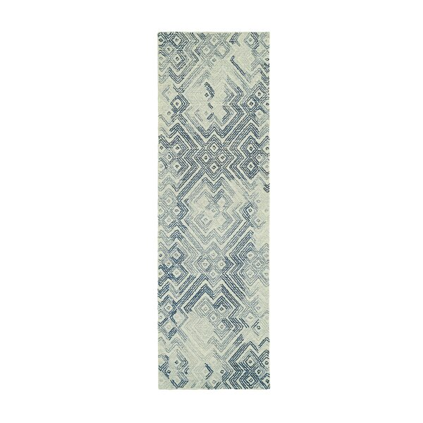 Stockman Hand-Tufted Wool Ivory/Denim Area Rug by Wrought Studio