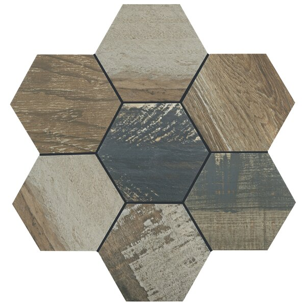 Garde Hex 8.5 X 9.75 Porcelain Wood Look Tile In Catan Shadow By Elitetile.