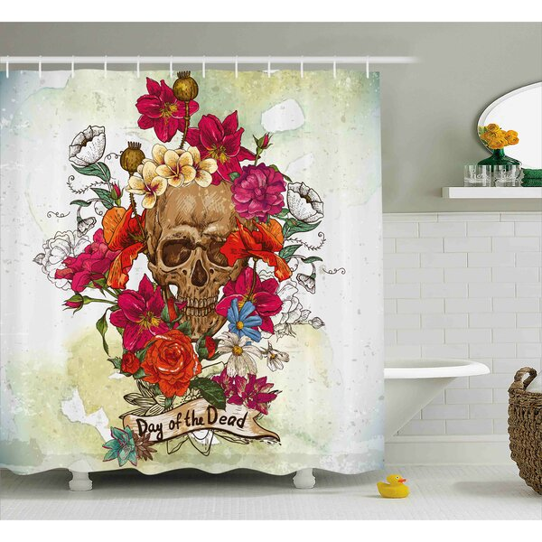Kent Day of The Dead Skull Dead Head With Flowers Daisies Spanish Festive Tradition Print Shower Curtain by Ebern Designs