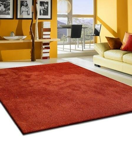 Heineman Solid Shag Hand-Tufted Red Area Rug by Latitude Run