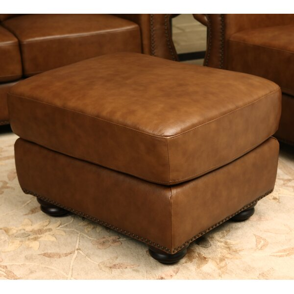 Las Ventanas Leather Ottoman By Astoria Grand