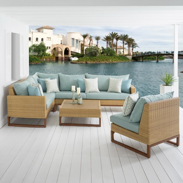 Addison 6 Piece Sunbrella Sectional Seating Group with Cushions by Bayou Breeze