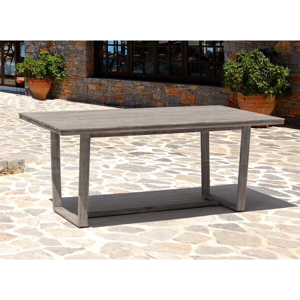 Joanne Casual Contemporary Driftwood Gray Outdoor Dining Table by Gracie Oaks