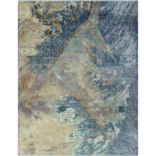 One-of-a-Kind Millman Fayola Hand-Knotted Gray/Blue Area Rug by Bloomsbury Market