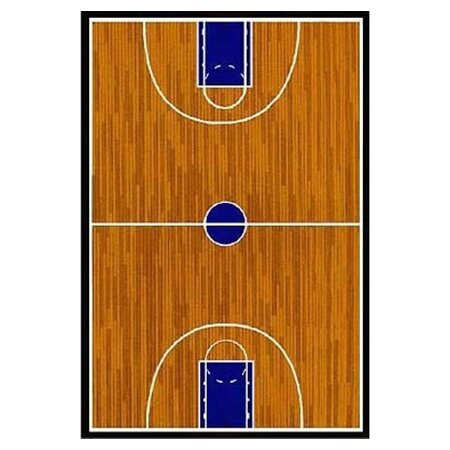 Supreme Basketball Court Sports Brown Area Rug by Fun Rugs