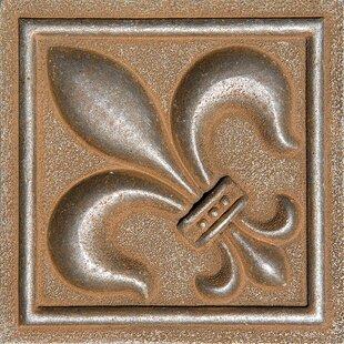 4 X Fleur De Lis Deco Accent Tile In Rust