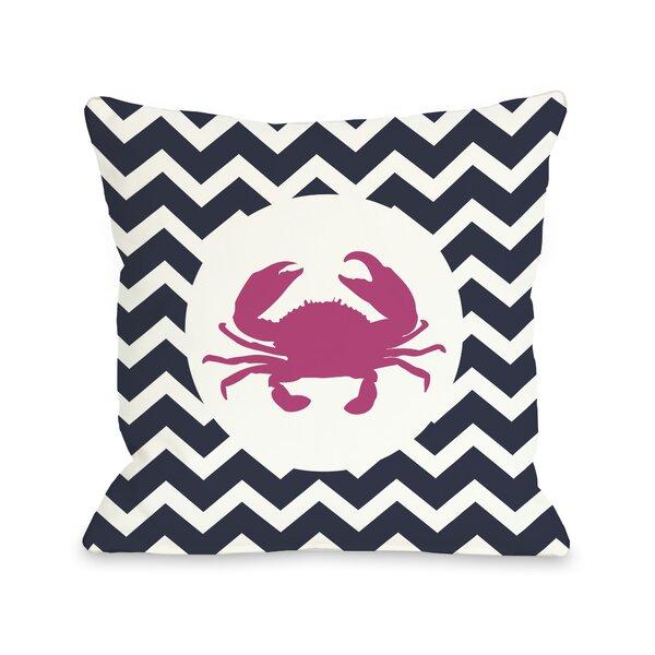 Chevron Crab Throw Pillow by One Bella Casa