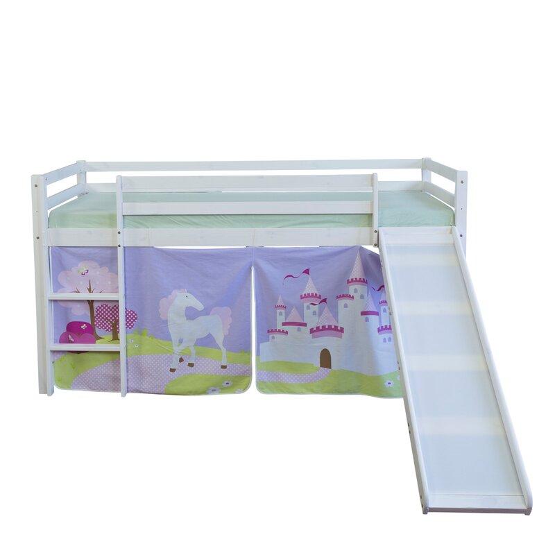 homestyle4u hochbett schloss mit rutsche und vorhang 90 x. Black Bedroom Furniture Sets. Home Design Ideas