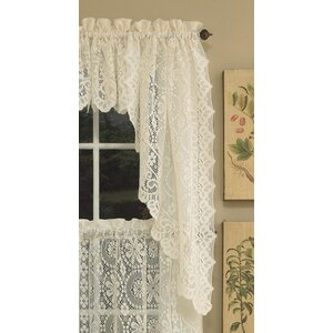 Old World Style Floral Heavy Lace Swag Curtain Valance Set Of 2