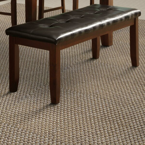 Rocio Leather Tufted Wood Bench by Red Barrel Studio Red Barrel Studio