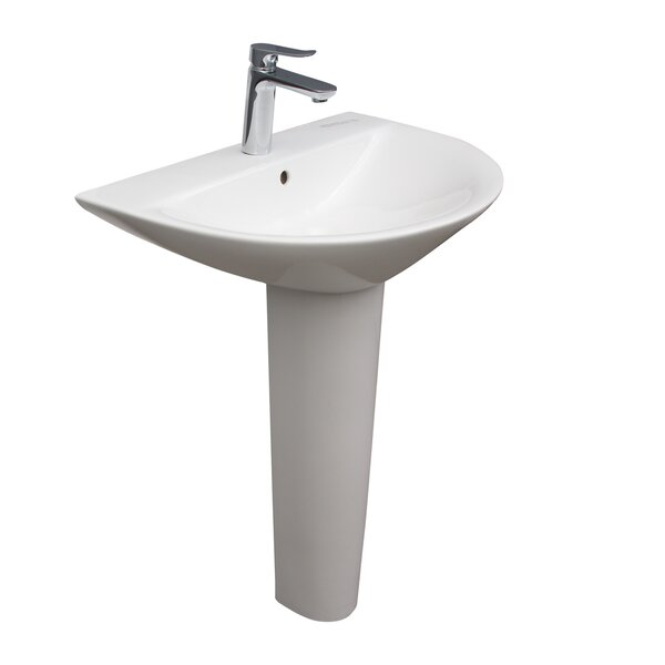 Morning 650 Pedestal Lavatory, With 1-Faucet Hole, Overflow, White