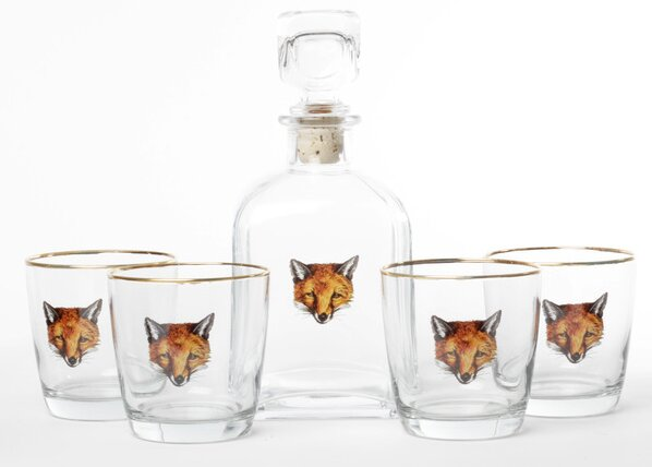 5-Piece Fox Decanter Set by Richard E. Bishop