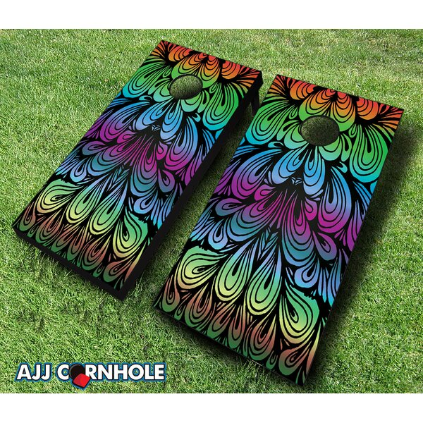 10 Piece Rainbow Swirl Cornhole Set by AJJ Cornhole
