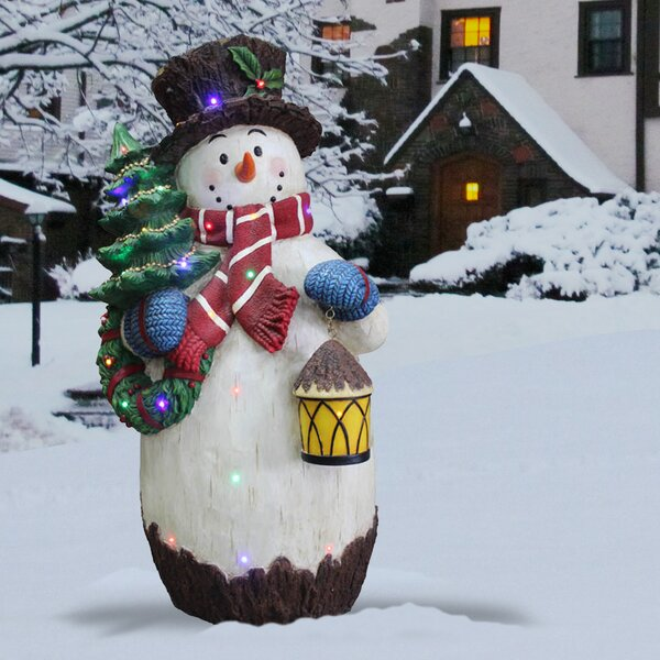 Snowman Holding Christmas Tree Figurine by Nationa