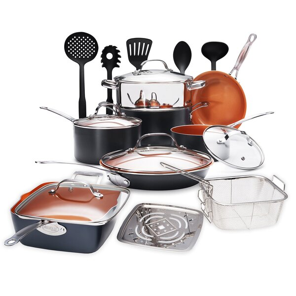 20 Piece Non-Stick Stainless Steel Cookware Set by Gotham Steel