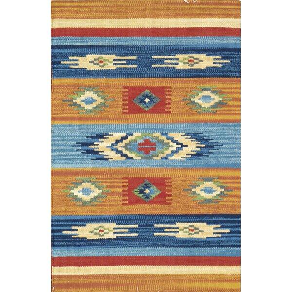 Anatolian Hand-Woven Cotton Blue/Orange Area Rug by Pasargad