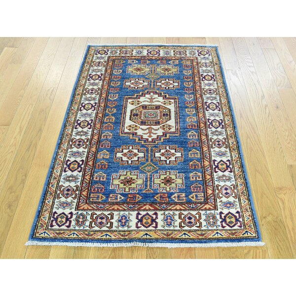 One-of-a-Kind Bechtold Denim Tribal Design Handwoven Blue Wool Area Rug by Isabelline