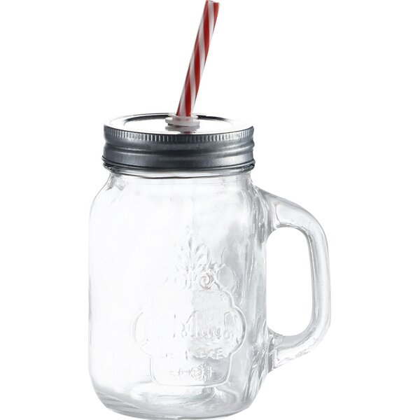 Hatton 16 oz. Mason Jar and Straw (Set of 4) by Laurel Foundry Modern Farmhouse