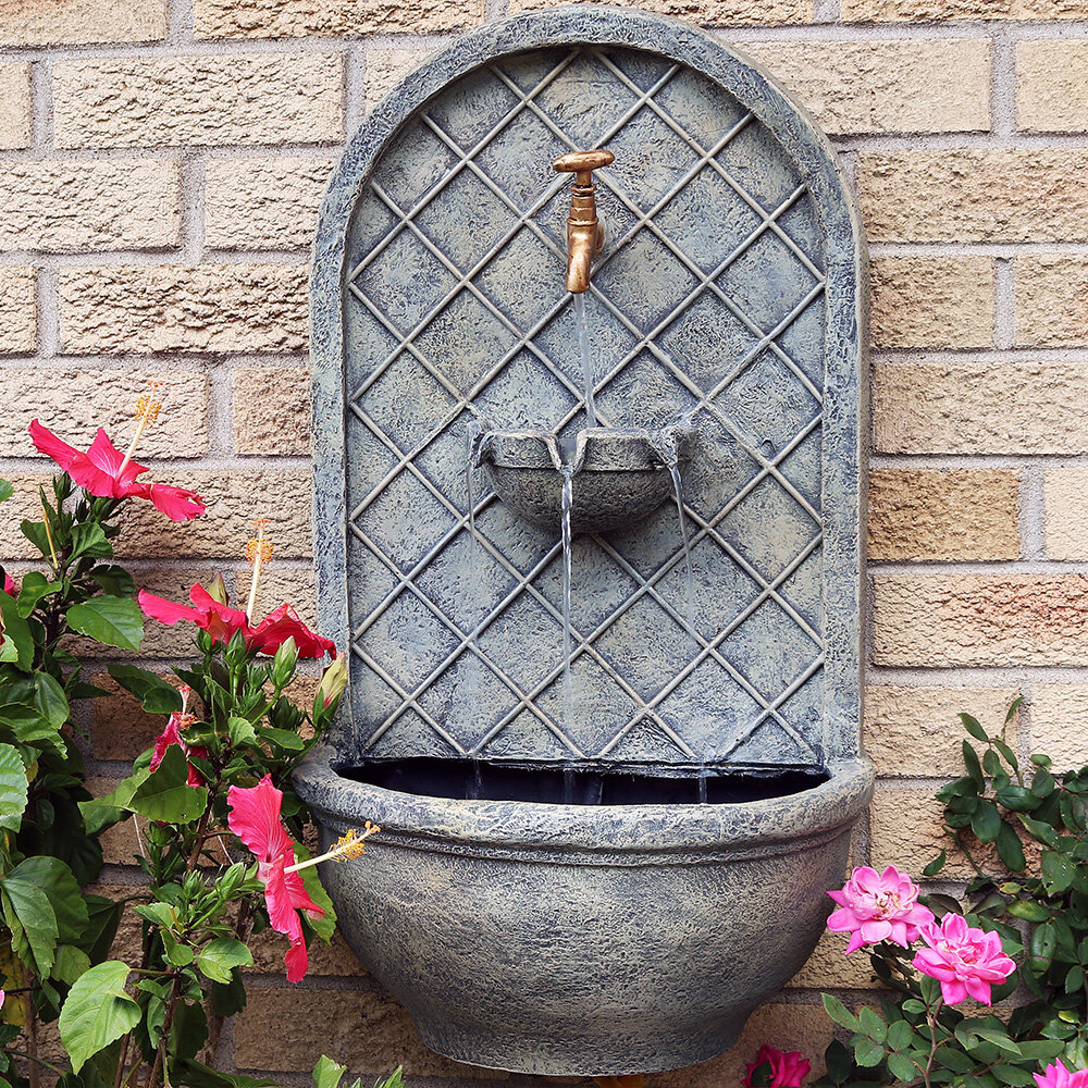 SunnyDaze Decor Polystone Messina Solar Wall Fountain U0026 Reviews | Wayfair