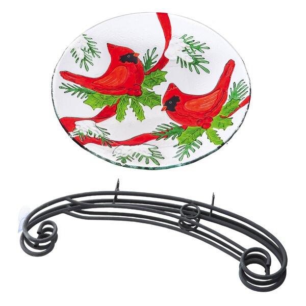 Winter Cardinals Birdbath by Evergreen Flag & Garden