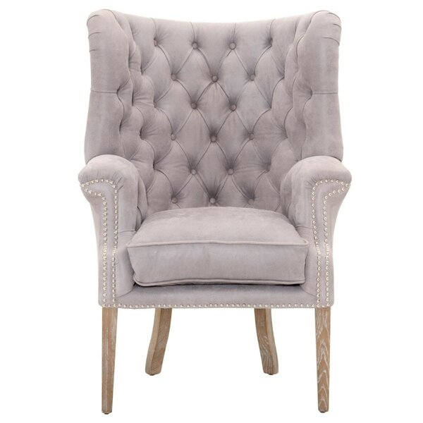 Laura Upholstered with High Curved Button Tufted Back Wingback Chair by Rosdorf Park