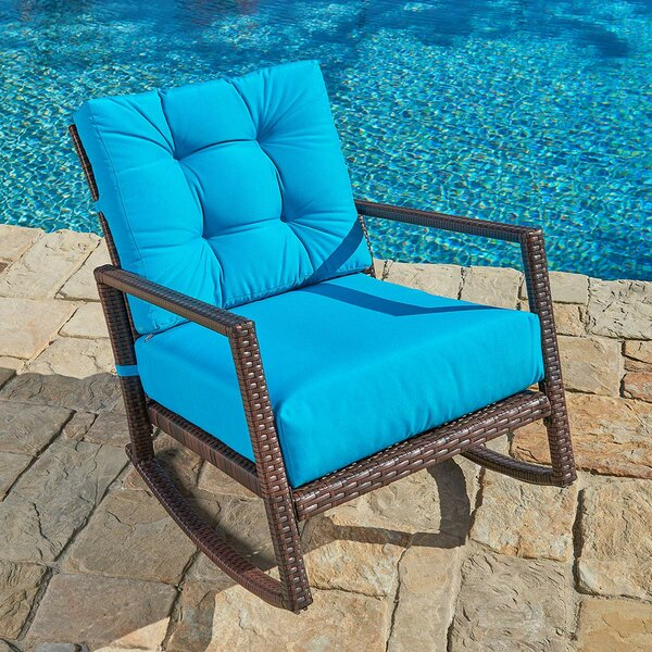 Albrechtice Outdoor Rocking Chair with Cushions by Ebern Designs